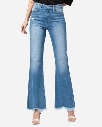 Express Flying Monkey Super High Rise Raw Hem Bell Flare Jeans