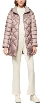 Andrew Marc Diamond Quilt Hooded Puffer Coat