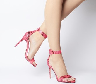 Office Heart Two Part Sandals Pink Snake Leather