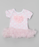 Tutus by Tutu AND Lulu Pink Polka Dot Rosette Tutu Bodysuit - Infant