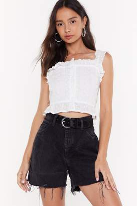 Nasty Gal Womens Be More Frill Embroidered Cropped Top - white - 14