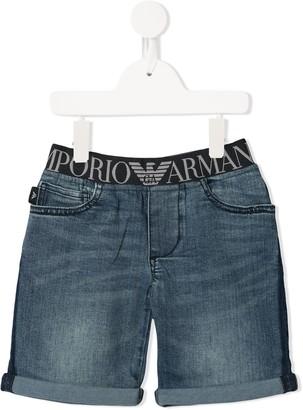 Emporio Armani Kids elasticated waistband denim shorts