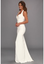 Nicole Miller Marilyn Solid Ruched Halter Gown