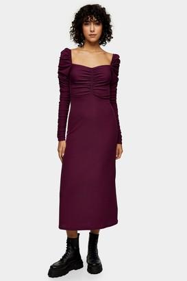 Topshop TALL Purple Ribbed Ruched Long Sleeve Midi Dress