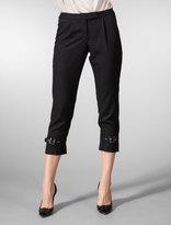 Wool Gabardine Belted Bottom Aviator Crop Pants