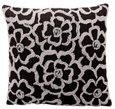 "Nourison Flowers Throw Pillow Charcoal (18""x18"") - Mina Victory"