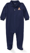 Ralph Lauren Childrenswear Interlock Knit Footed Polo Coverall, Size 3-9 Months
