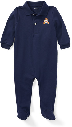 Ralph Lauren Kids Interlock Knit Footed Polo Coverall, Size 3-9 Months
