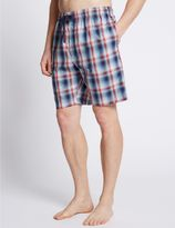Marks and Spencer Pure Cotton Checked Stay Soft Pyjama Shorts