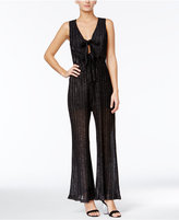 Trixxi Juniors' Pleated Glitter Jumpsuit