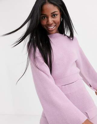 Asos Design DESIGN two-piece cropped ribbed sweater with wide sleeve-Purple