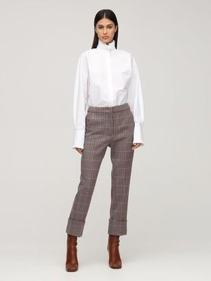 Sportmax Cotton Poplin Shirt W/ Ruffled Collar