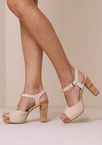 Missy Empire Anja Nude Patent Leather T Bar Heels