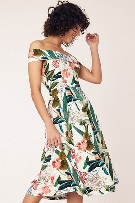 Oasis Hot Tropics Multi Natural Bardot Midi Dress