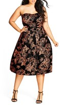 City Chic Plus Size Women's Floral Outline Fit & Flare Dress