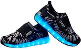 Fuiigo Luminous Running Shoes 7 Colors LED Light Up USB Charged Breathable Slip-On Sneaker with Velcro Unisex Kids Boys Girls Sport Shoes