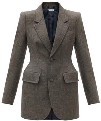 Balenciaga Hourglass-waist Checked Wool-tweed Blazer - Brown