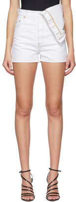 Y/Project White Denim Asymmetric Shorts