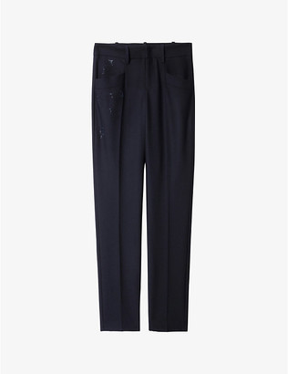 Zadig & Voltaire Pruna Strass embellished straight high-rise crepe trousers