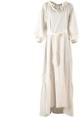Nary Song Saa Maxi White Linen Lounge Dress
