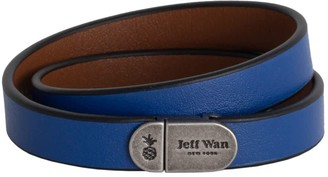 Jeff Wan Leather Bracelet With Magnetic Closure Blue Manhattan