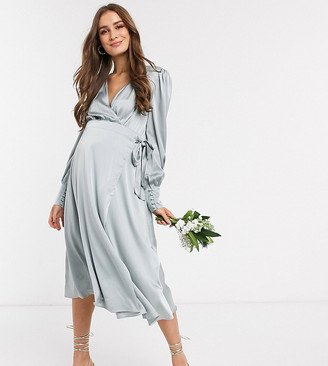 TFNC Maternity bridesmaid long sleeve wrap front sateen midi dress with belt in sage