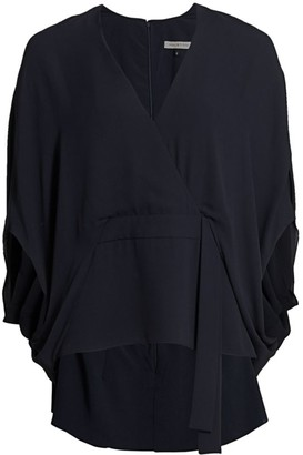 Halston Drape Kimono-Sleeve Blouse