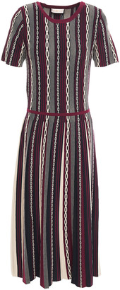 Tory Burch Pleated Jacquard-knit Midi Dress