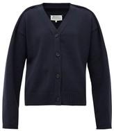 Maison Margiela Folded-shoulder V-neck Cotton-blend Cardigan - Womens - Navy