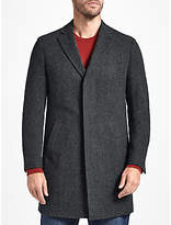 John Lewis Wool Herringbone Overcoat, Grey