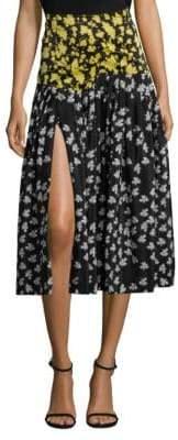Derek Lam Printed Pleated A-Line Skirt