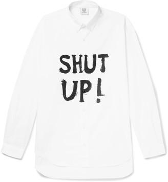 Vetements Button-Down Collar Printed Cotton-Poplin Shirt