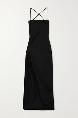 IOANNES Camilla Open-back Ruched Cotton-poplin Maxi Dress - Black