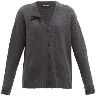 Miu Miu Bow-trim Wool-blend Cardigan - Womens - Dark Grey