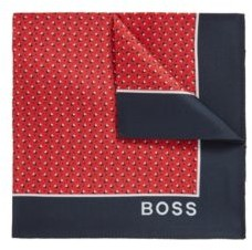 HUGO BOSS Printed Pocket Square In Pure Silk - Red