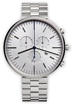 Uniform Wares M42 Polished Unisex Quartz Watch with Silver Dial Chronograph Display And Silver Stainless Steel Bracelet