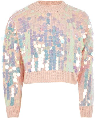 River Island Girls Slouch Sequin Cropped Jumper-Pink