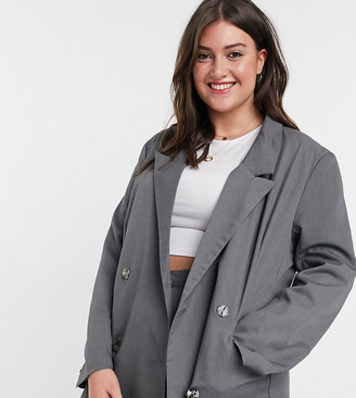 Daisy Street Plus dad blazer longline co-ord