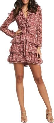 Bardot Alessia Floral Ruffle Long Sleeve Mini Dress