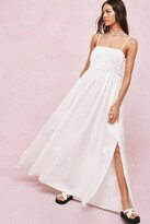 Thumbnail for your product : Nasty Gal Womens Shirred Square Neck Maxi Smock Dress - White - 4