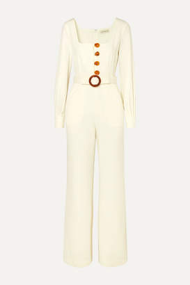 Nicholas Belted Twill Jumpsuit - White