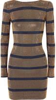 Balmain Crystal-embellished Georgette Mini Dress - Navy