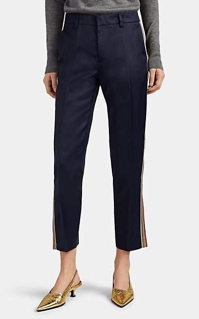 Pt01 Women's Tecla Metallic-Striped Washed Satin Track Pants - Navy