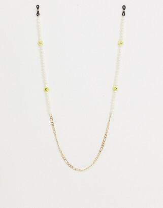 ASOS DESIGN happy face & pearl sunglasses chain