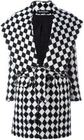 Balmain checked belted coat - women - Cotton/Viscose/Wool - 40