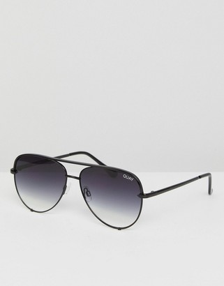 Quay High Key Mini aviator sunglasses in black fade