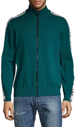 Diesel Logo Zip-Up Cardigan Sweater