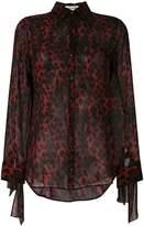 Saint Laurent sheer leopard print shirt