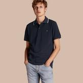 Burberry Tipped Collar Cotton Piqué Polo Shirt