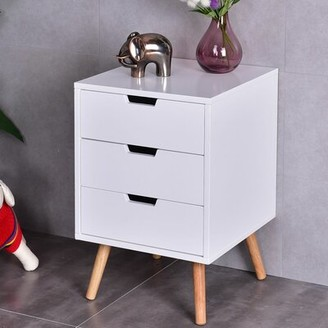 George Oliver Rehoboth 3 Drawer Mid-Century End Table with Storage George Oliver